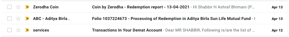 12th April Mutual Fund Redemption Emails