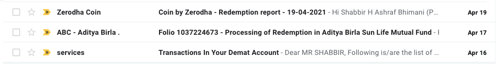 16th April Mutual Fund Redemption Emails