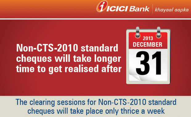 ICICI Bank Non CTS Check Clearance Mailer