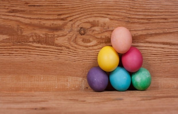 Easter - the pyramid of colored egg